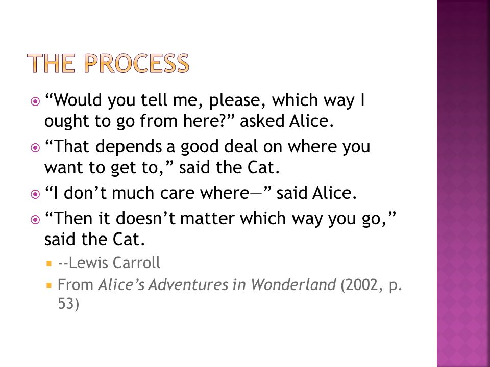 The Process Would you tell me, please, which way I ought to go from here asked Alice.