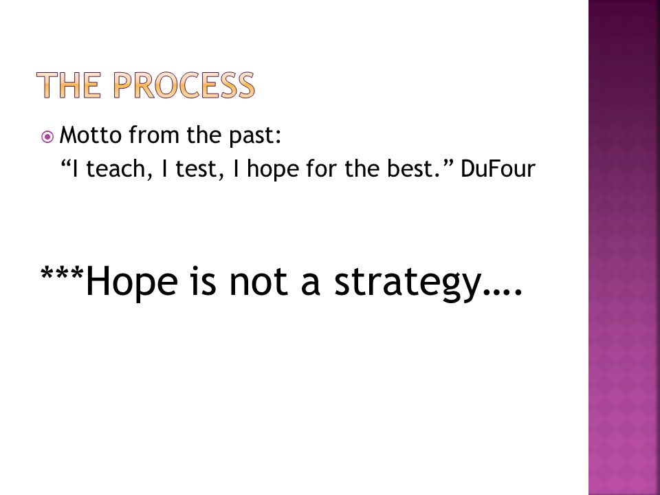 ***Hope is not a strategy….