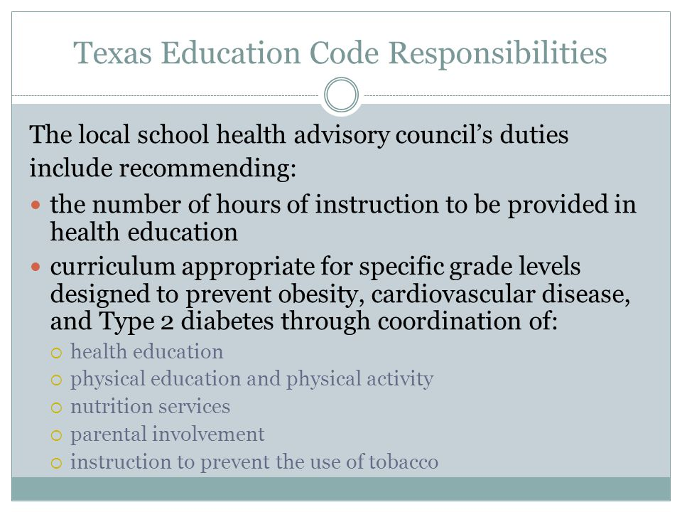 Texas Education Code Responsibilities