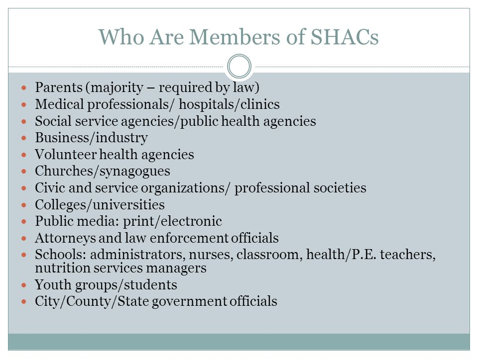 Who Are Members of SHACs