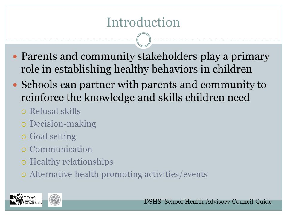 Introduction Parents and community stakeholders play a primary role in establishing healthy behaviors in children.
