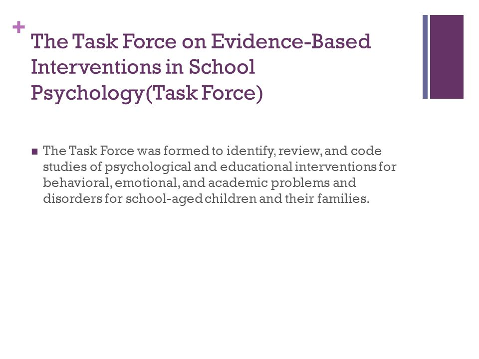 The Task Force on Evidence-Based Interventions in School Psychology(Task Force)