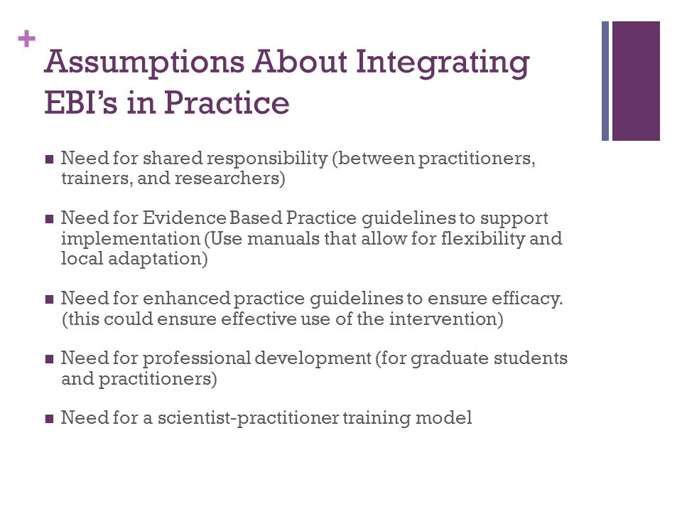 Assumptions About Integrating EBI's in Practice