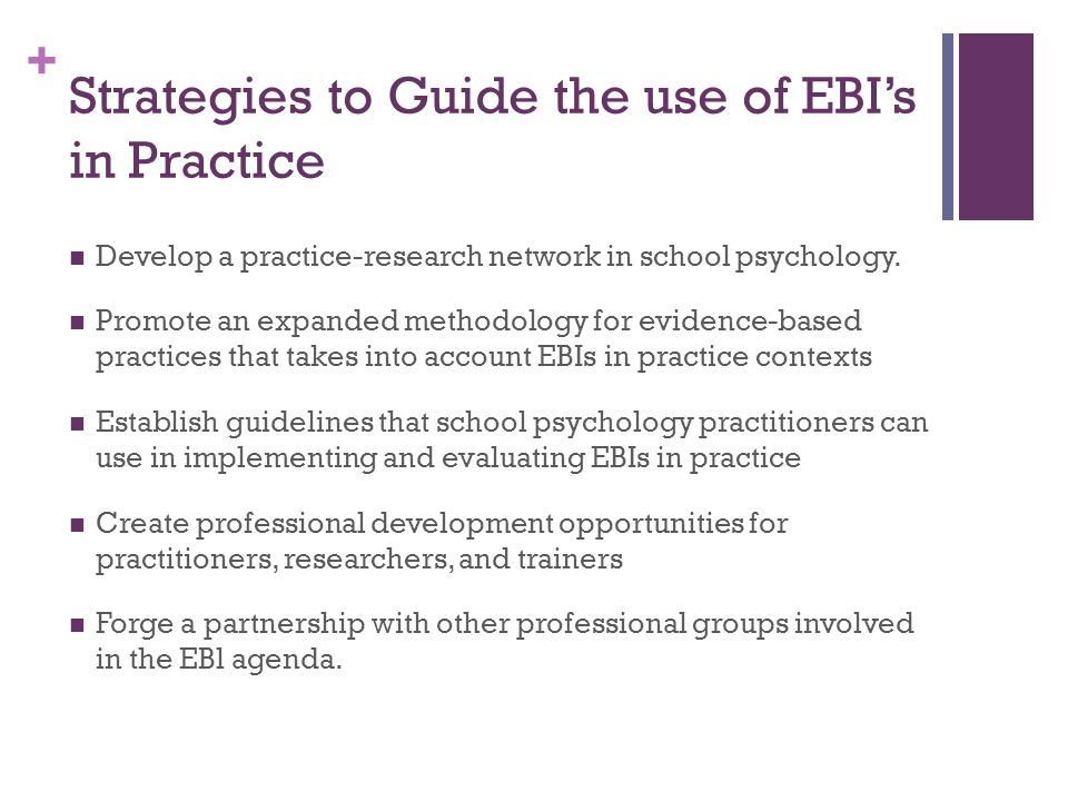 Strategies to Guide the use of EBI's in Practice