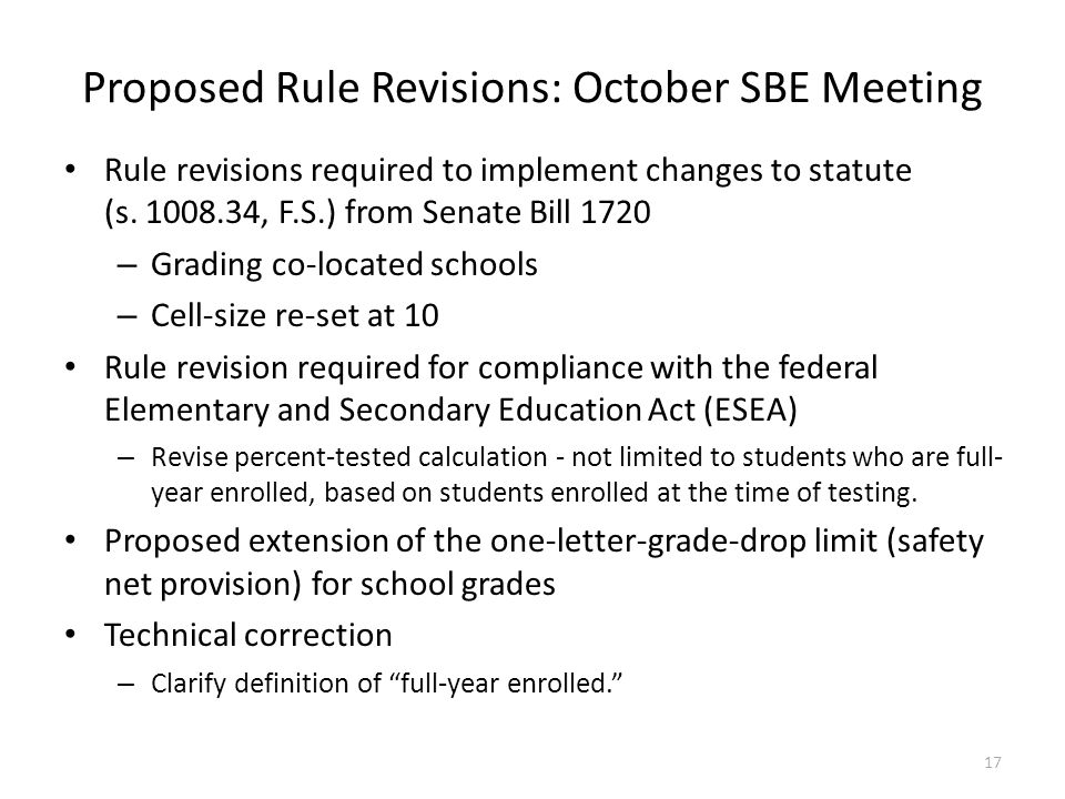 Proposed Rule Revisions: October SBE Meeting