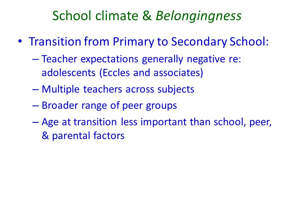School climate & Belongingness