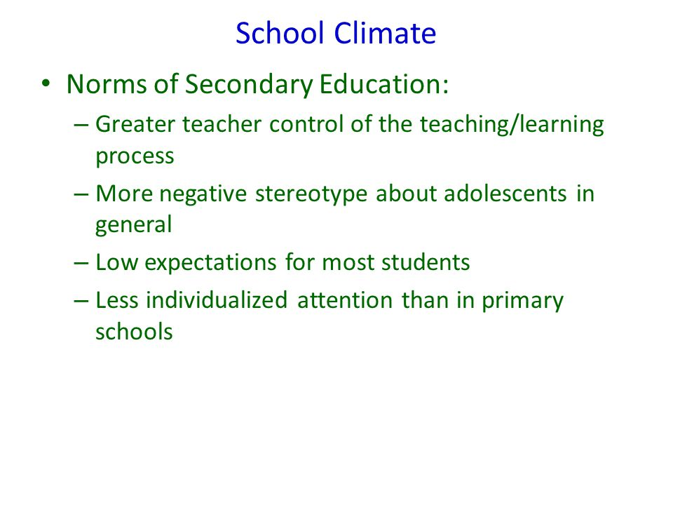 School Climate Norms of Secondary Education: