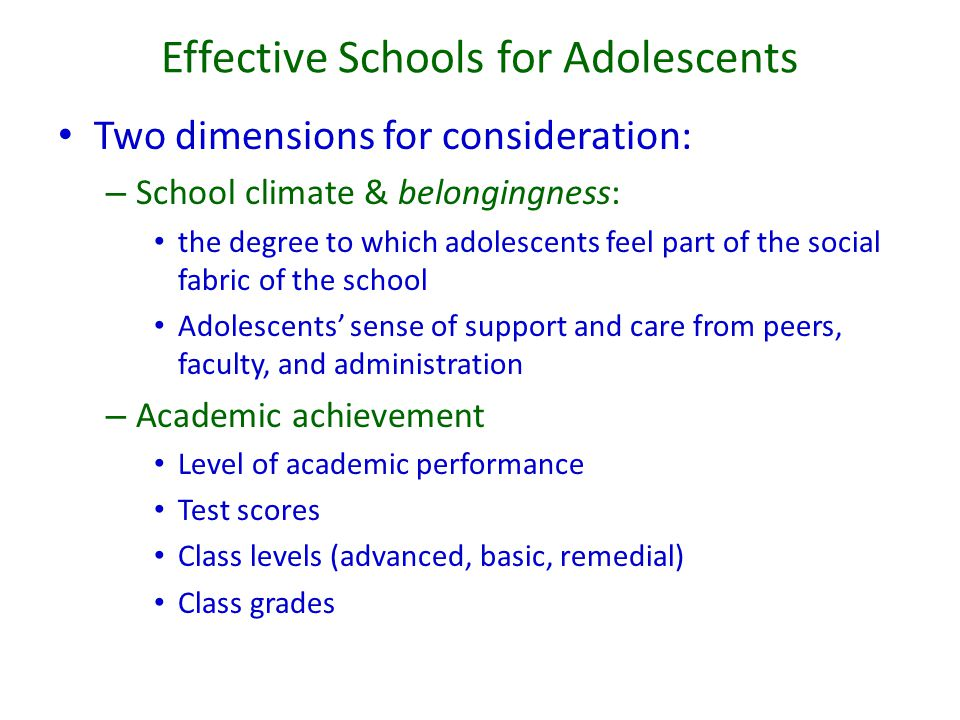 Effective Schools for Adolescents