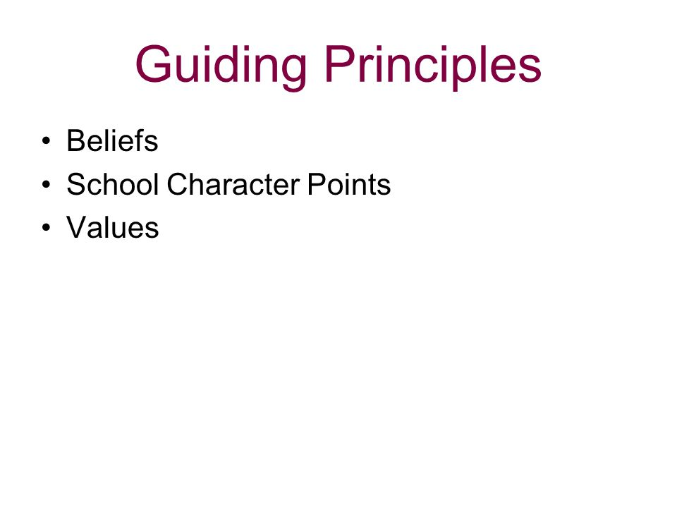 Guiding Principles Beliefs School Character Points Values