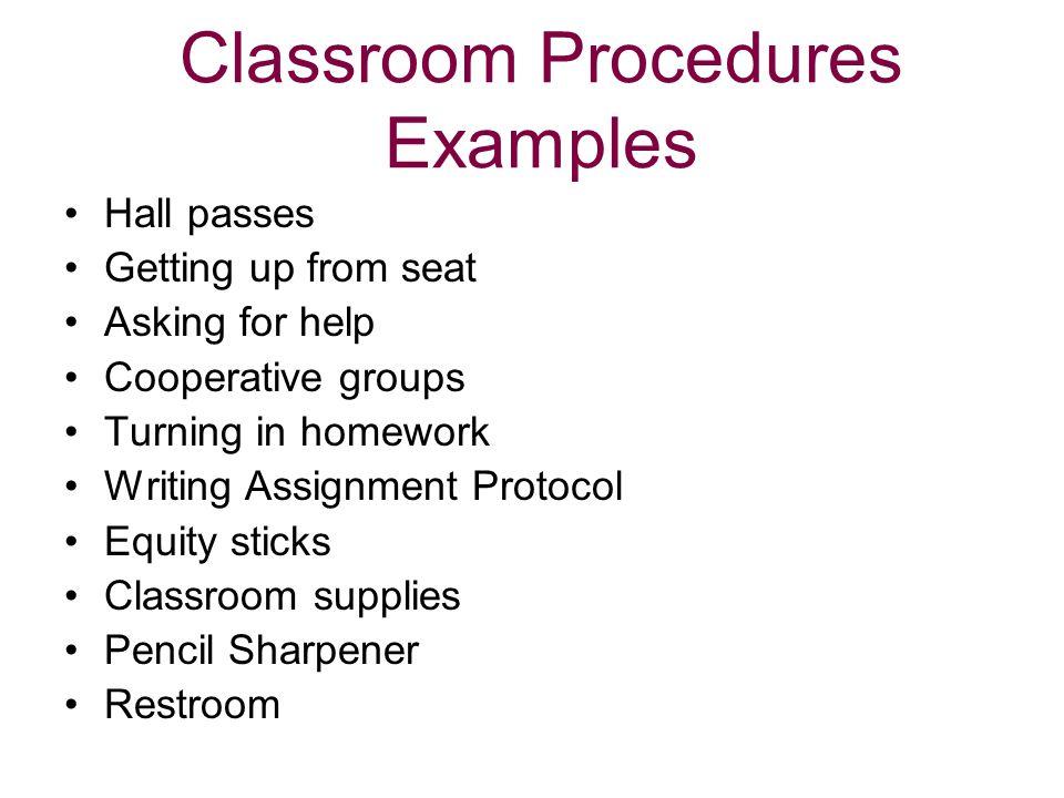 Classroom Procedures Examples