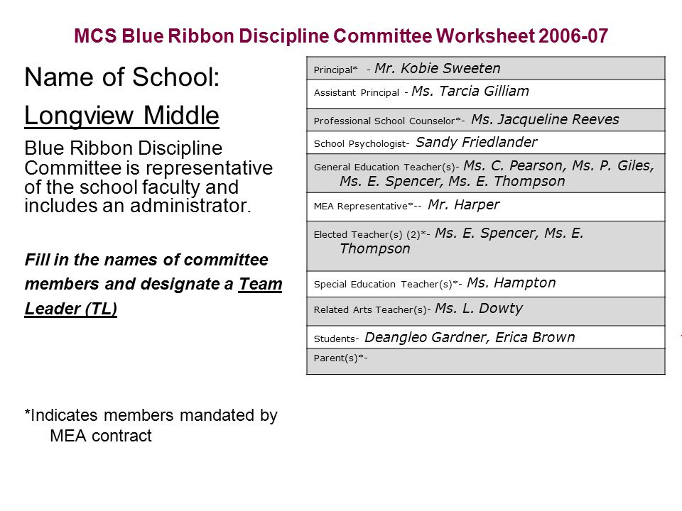 Longview Middle School Blue Ribbon Plan ppt download – In School Suspension Worksheets