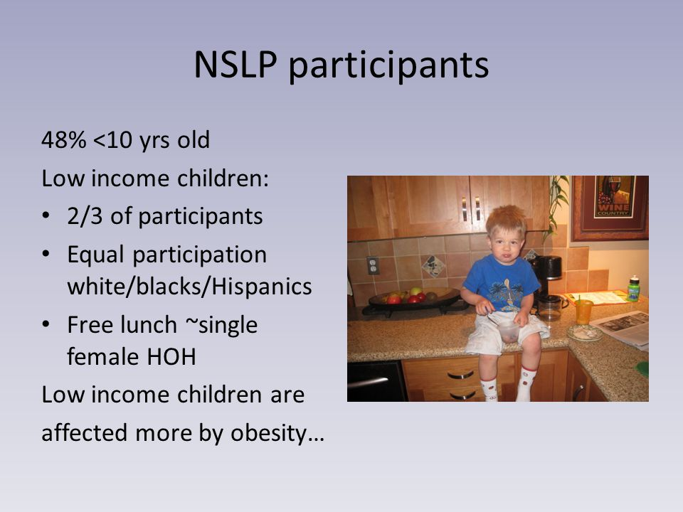 NSLP participants 48% <10 yrs old Low income children: