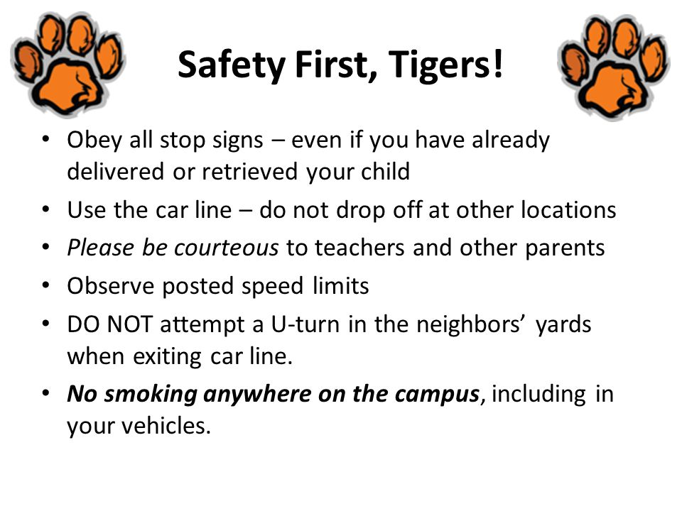Safety First, Tigers! Obey all stop signs – even if you have already delivered or retrieved your child.