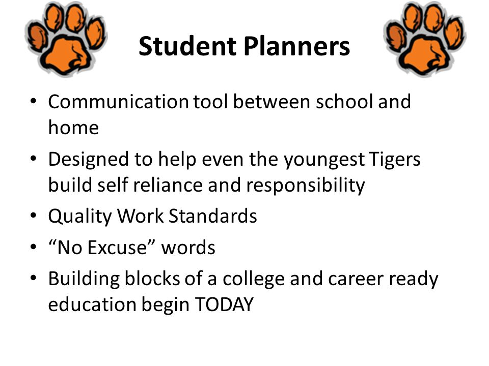 Student Planners Communication tool between school and home