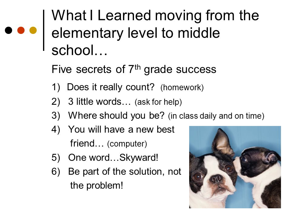 What I Learned moving from the elementary level to middle school…