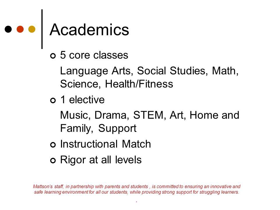 Academics 5 core classes