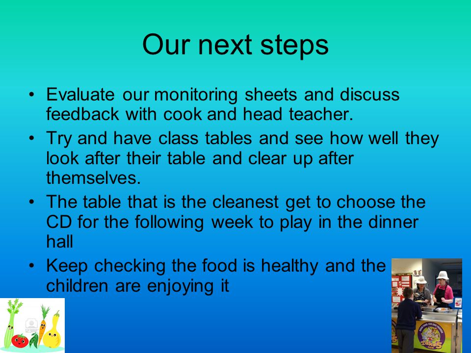 Our next steps Evaluate our monitoring sheets and discuss feedback with cook and head teacher.