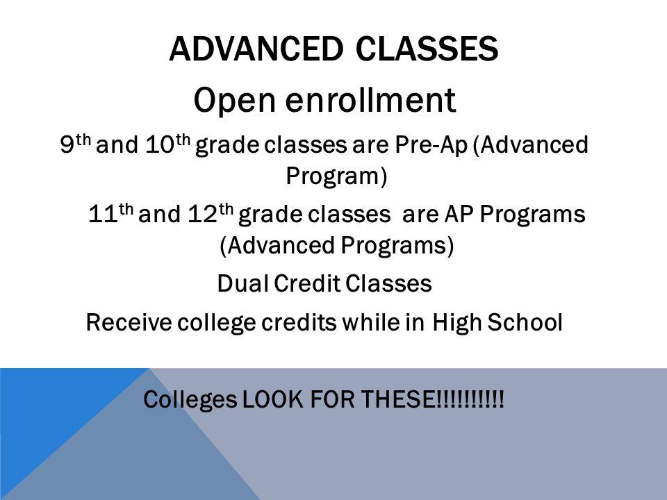 Advanced Classes Open enrollment