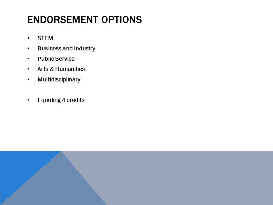 Endorsement Options STEM Business and Industry Public Service