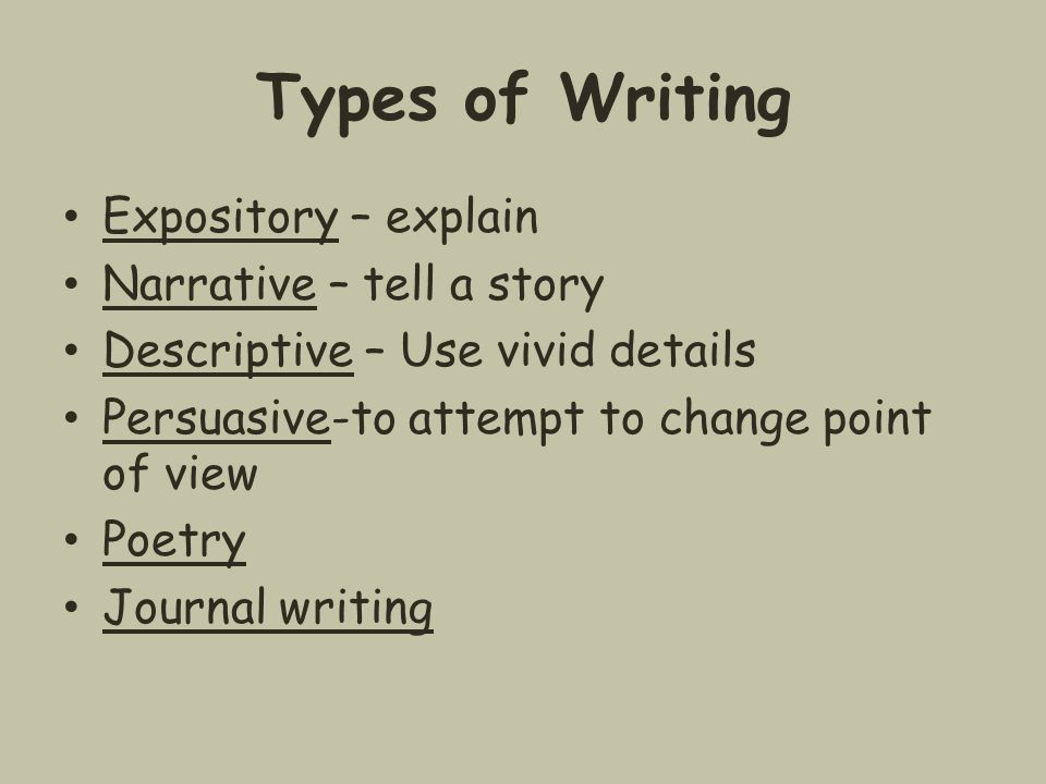 Types of Writing Expository – explain Narrative – tell a story