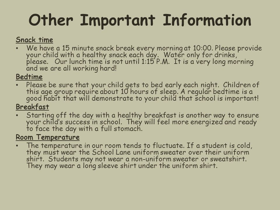 Other Important Information