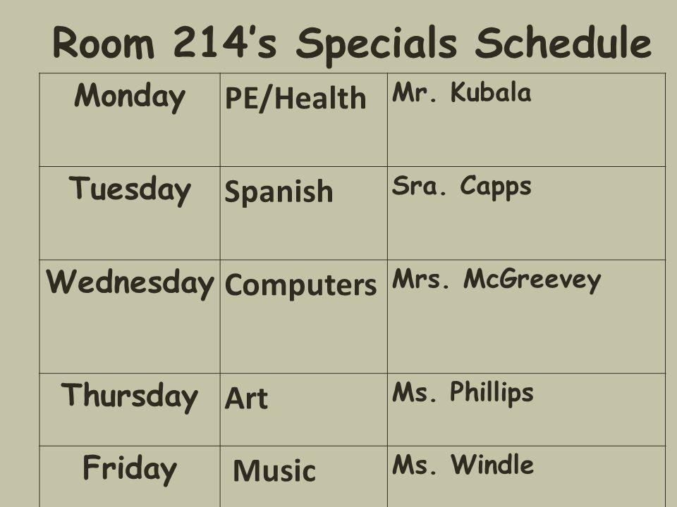 Room 214's Specials Schedule