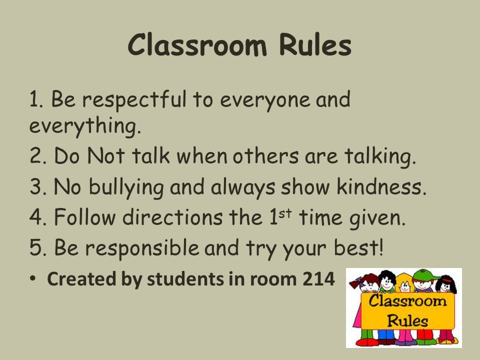 Classroom Rules 1. Be respectful to everyone and everything.