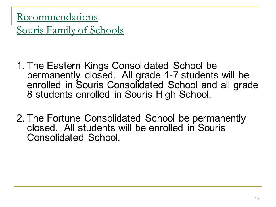Recommendations Souris Family of Schools