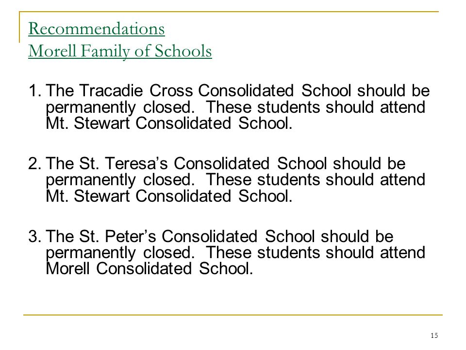 Recommendations Morell Family of Schools