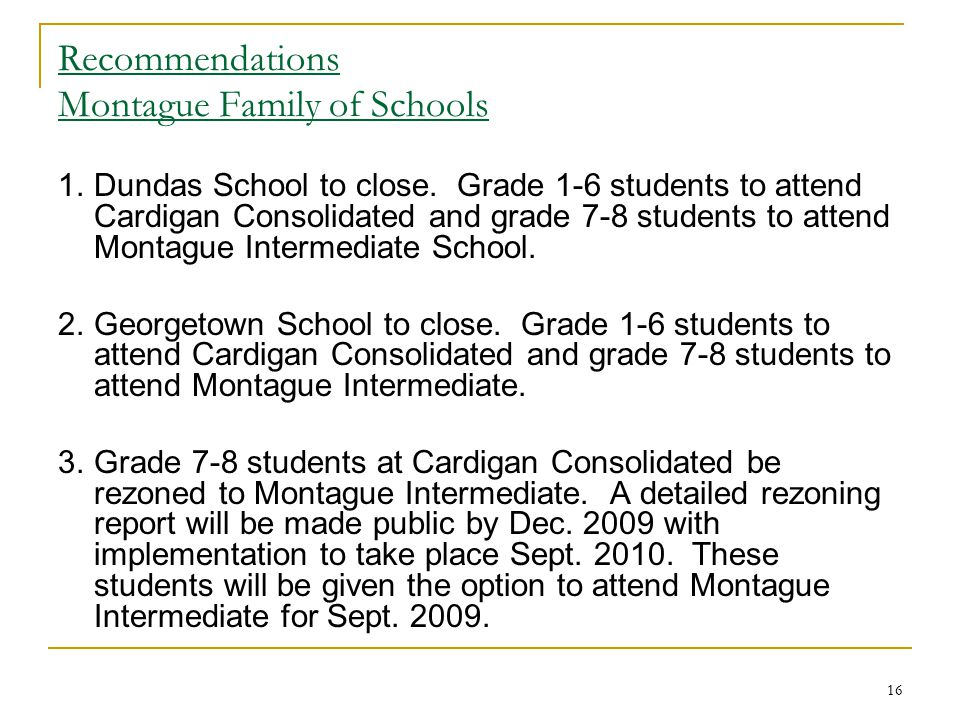 Recommendations Montague Family of Schools