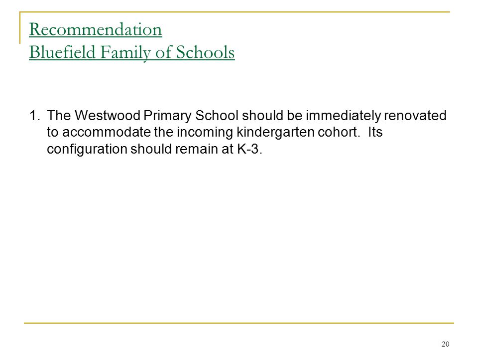 Recommendation Bluefield Family of Schools