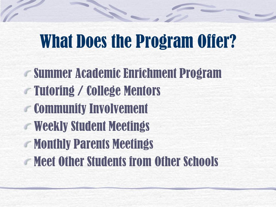 What Does the Program Offer