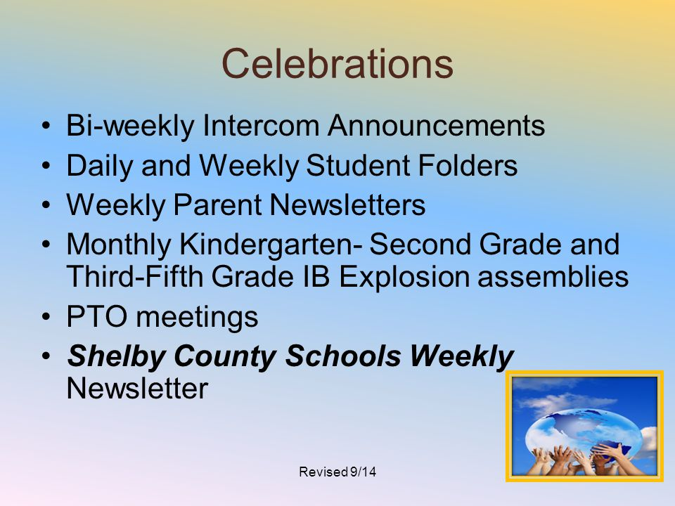 Celebrations Bi-weekly Intercom Announcements