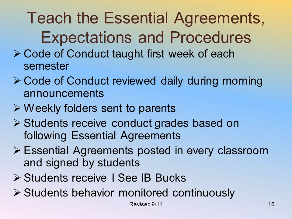 Teach the Essential Agreements, Expectations and Procedures