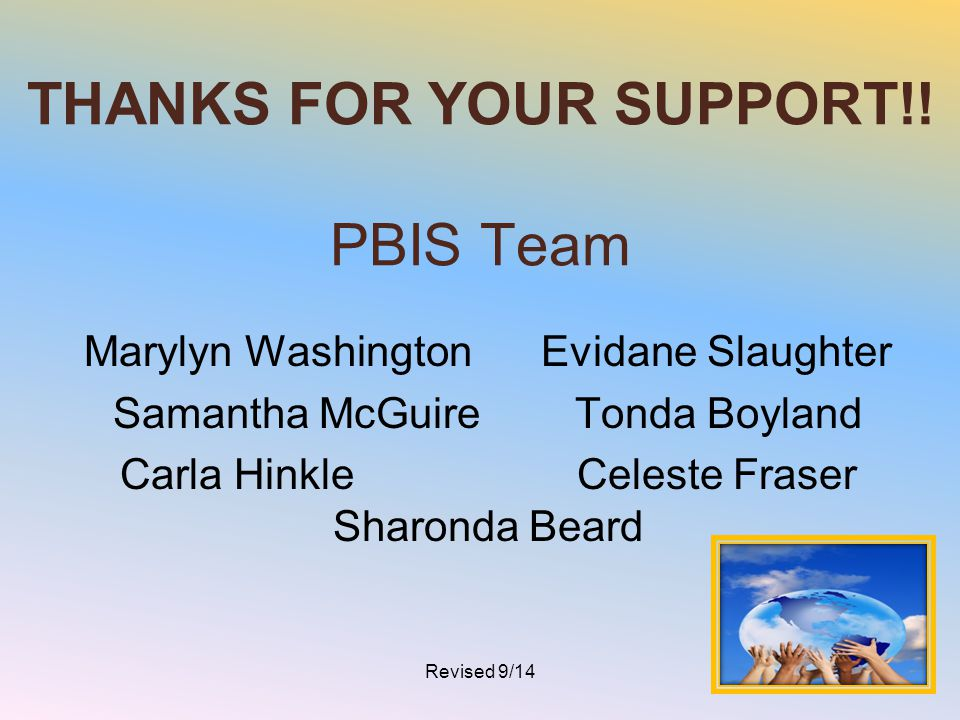 THANKS FOR YOUR SUPPORT!! PBIS Team