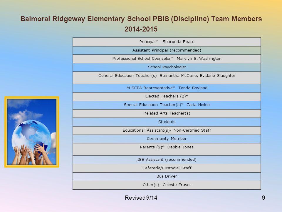 Balmoral Ridgeway Elementary School PBIS (Discipline) Team Members 2014-2015