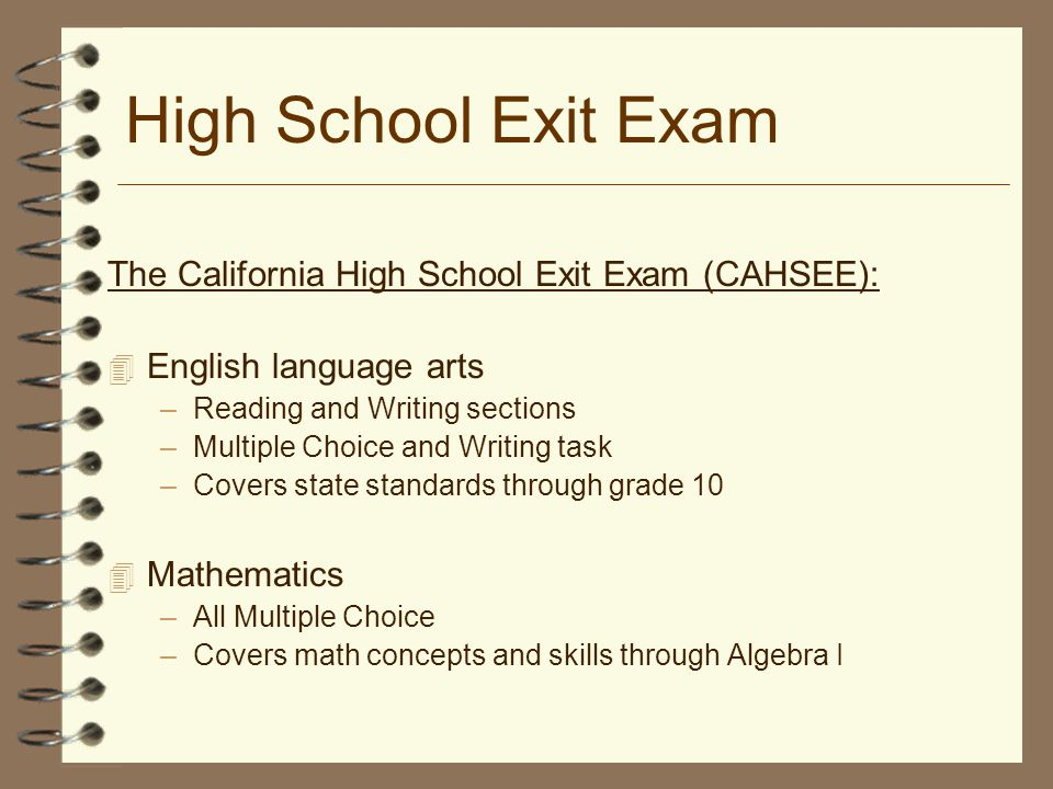 california high school exit exam essay prompts The california high school exit examination  to write one or two multi-paragraph essays the essay portion provides a question that will prompt the student to .