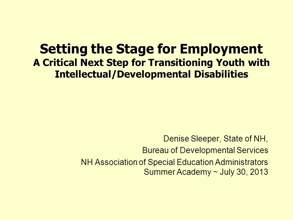 Setting the Stage for Employment A Critical Next Step for Transitioning Youth with Intellectual/Developmental Disabilities