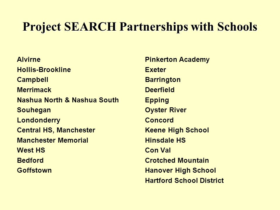 Project SEARCH Partnerships with Schools