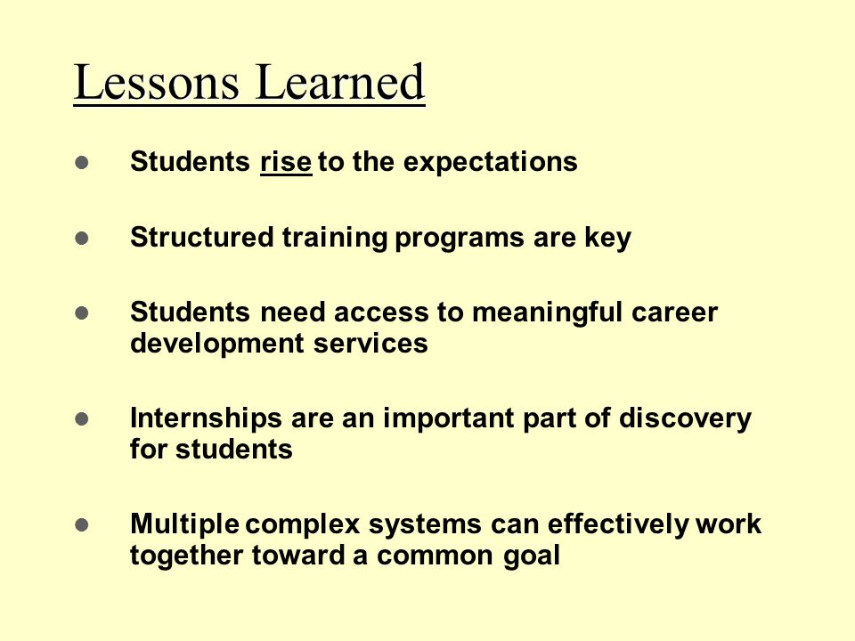 Lessons Learned Students rise to the expectations