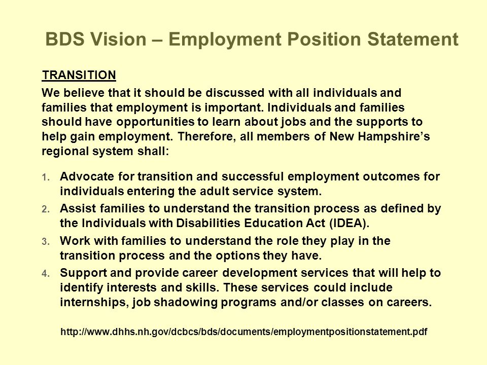 BDS Vision – Employment Position Statement