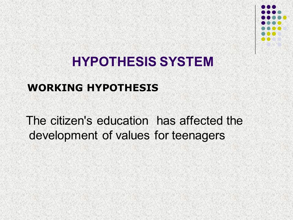 HYPOTHESIS SYSTEM WORKING HYPOTHESIS