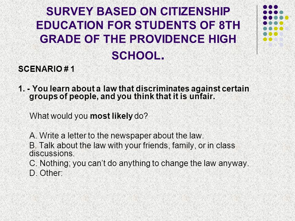 SURVEY BASED ON CITIZENSHIP EDUCATION FOR STUDENTS OF 8TH GRADE OF THE PROVIDENCE HIGH SCHOOL.