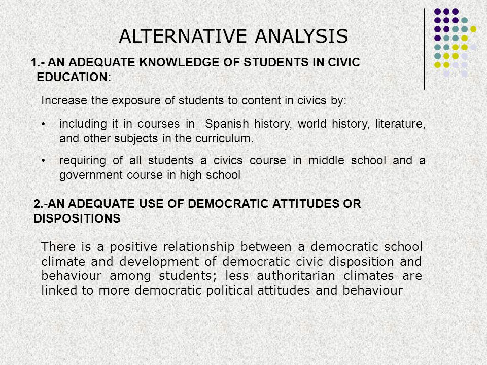 ALTERNATIVE ANALYSIS 1.- AN ADEQUATE KNOWLEDGE OF STUDENTS IN CIVIC EDUCATION: Increase the exposure of students to content in civics by: