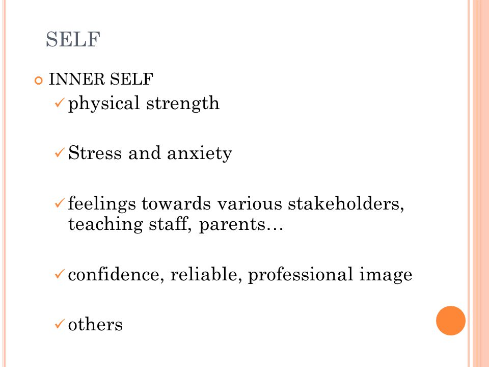 SELF physical strength Stress and anxiety