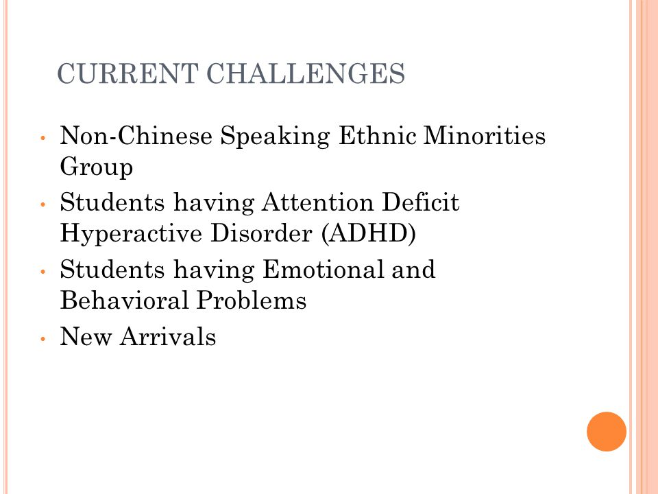 CURRENT CHALLENGES Non-Chinese Speaking Ethnic Minorities Group