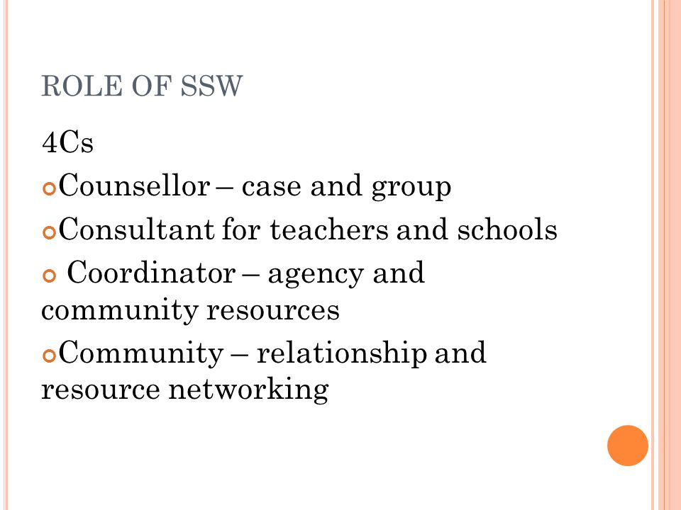 Counsellor – case and group Consultant for teachers and schools
