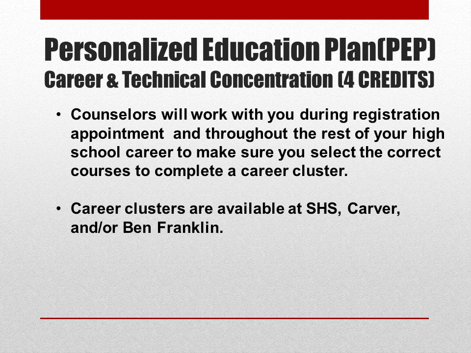 Personalized Education Plan(PEP) Career & Technical Concentration (4 CREDITS)