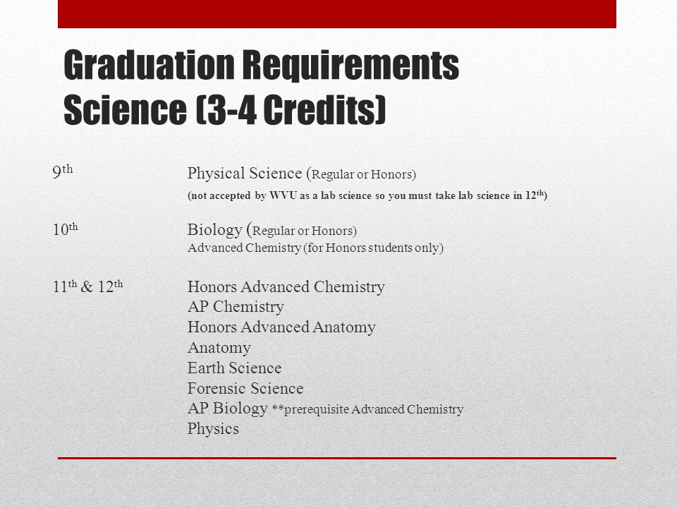 Graduation Requirements Science (3-4 Credits)