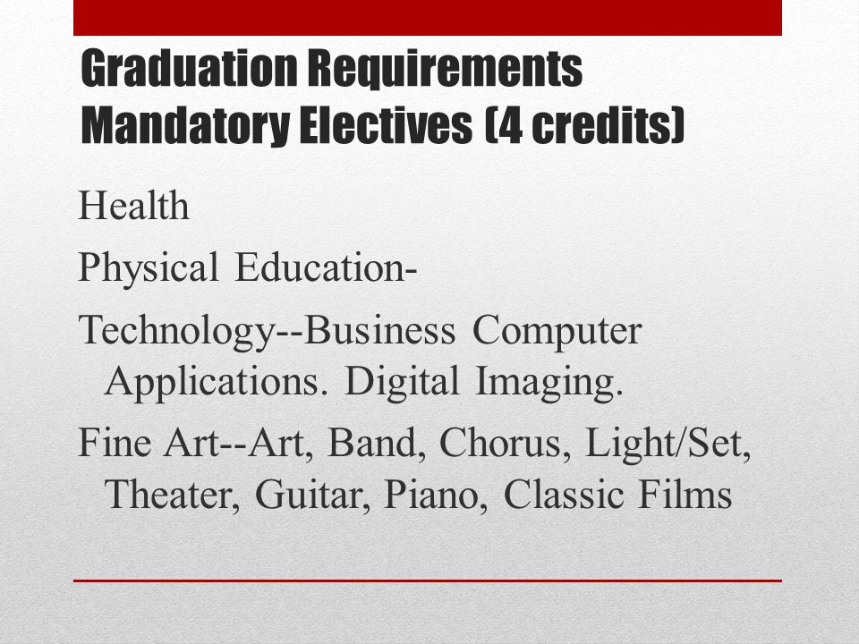 Graduation Requirements Mandatory Electives (4 credits)